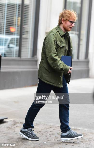 Singer Ed Sheeran is seen outside Taylor Swift Home in Soho on March 7 2017 in New York City