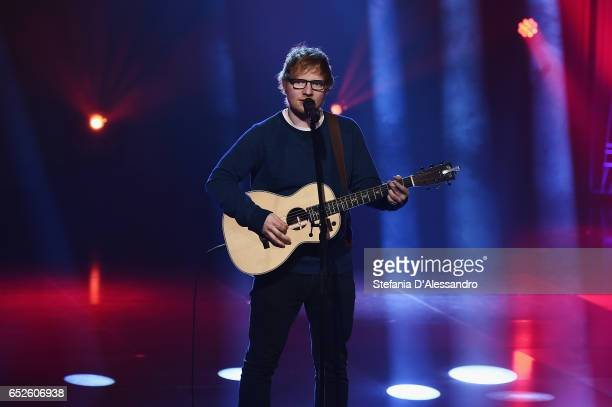 Singer Ed Sheeran performs at 'Che Tempo Che Fa' tv show on March 12 2017 in Milan Italy