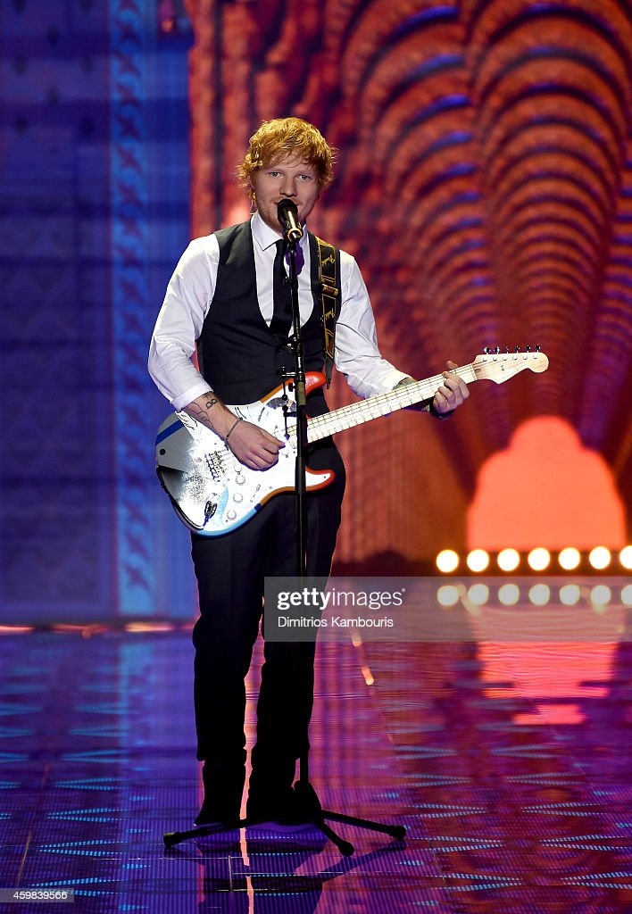 Singer <a gi-track='captionPersonalityLinkClicked' href=/galleries/search?phrase=Ed+Sheeran&family=editorial&specificpeople=7604356 ng-click='$event.stopPropagation()'>Ed Sheeran</a> performs during the 2014 Victoria's Secret Fashion Show at Earl's Court Exhibition Centre on December 2, 2014 in London, England.
