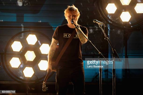 Singer Ed Sheeran performs during The 59th GRAMMY Awards at STAPLES Center on February 12 2017 in Los Angeles California