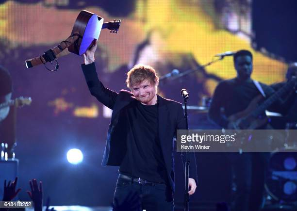 Singer Ed Sheeran performs onstage at the 2017 iHeartRadio Music Awards which broadcast live on Turner's TBS TNT and truTV at The Forum on March 5...