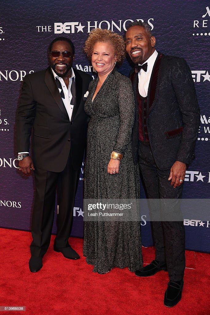 Singer Eddie Levert BET Network CEO Debra L Lee and BET Network President of Broadcast Media Sales Louis Carr attend the BET Honors 2016 at Warner...