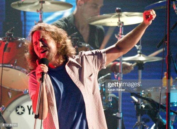 Singer Eddie Vedder of 'Pearl Jam' performs onstage during the 3rd Annual VH1 Rock Honors at UCLA's Pauley Pavillion on July 12 2008 in Los Angeles...