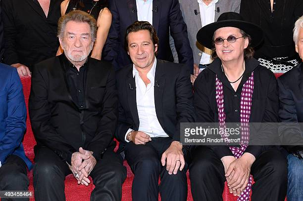 Singer Eddy Mitchell, Main Guest of the Show, Impersonator Laurent Gerra and Chef Marc Veyrat attend the 'Vivement Dimanche' French TV Show at Pavillon Gabriel on October 20, 2015 in Paris, France.