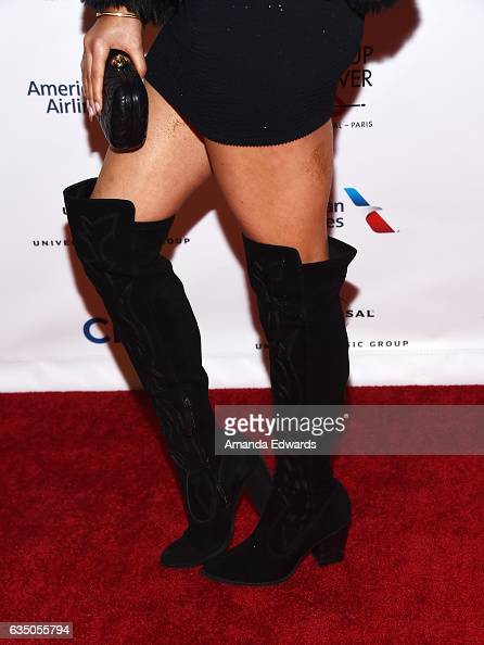 Singer Eden xo shoe detail arrives at the Universal Music Group's 2017 GRAMMY After Party at The Theatre at Ace Hotel on February 12 2017 in Los...