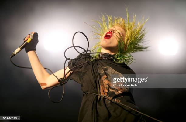 Singer Edith Frances of Crystal Castles performs at the Sahara Tent during day 1 of the 2017 Coachella Valley Music Arts Festival at the Empire Polo...