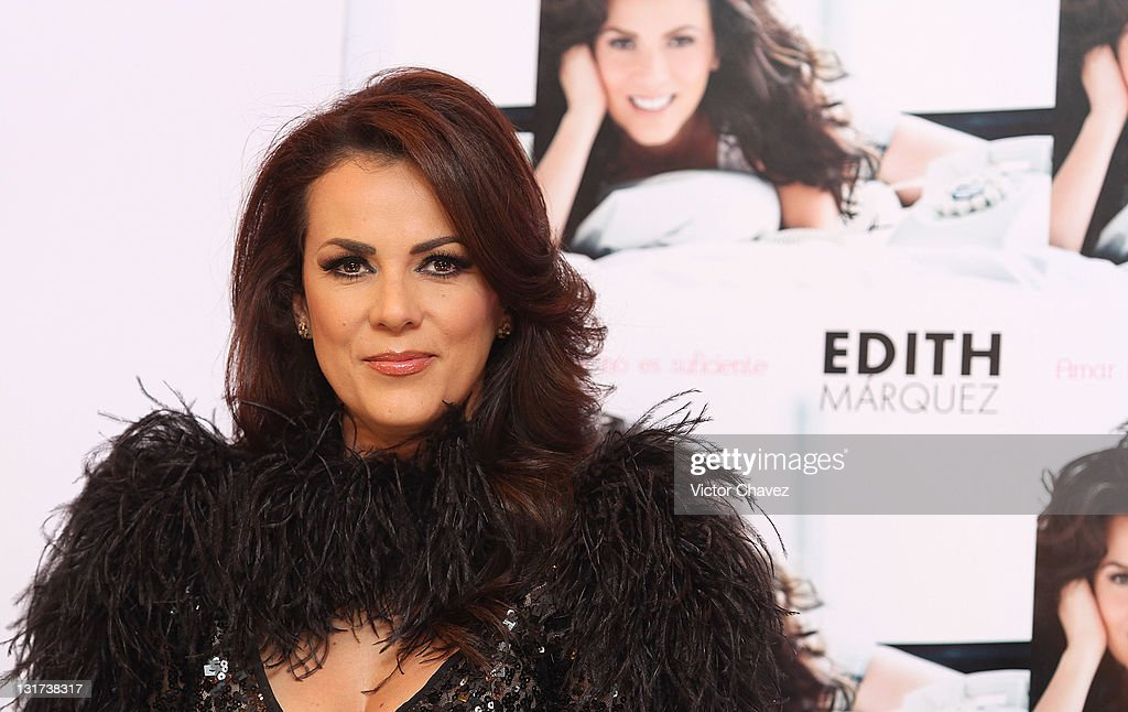 Singer Edith Marquez attends a press conference to promote her new album 'Amar No Es Suficiente' at the Hotel Nikko Polanco on November 7, 2011 in Mexico City, Mexico.