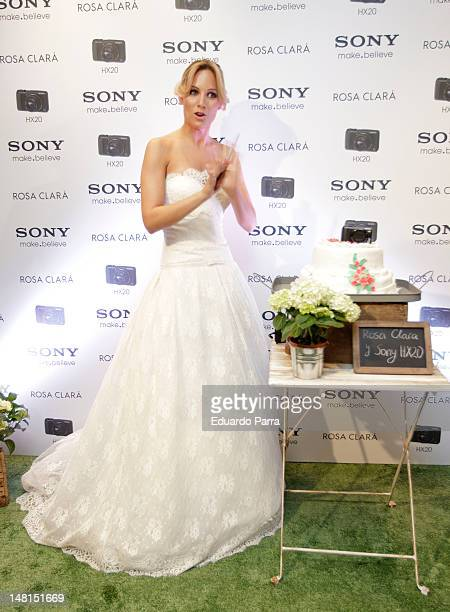 Singer Edurne attends Sony Rosa Clara event photocall at Rosa Clara store on July 11 2012 in Madrid Spain