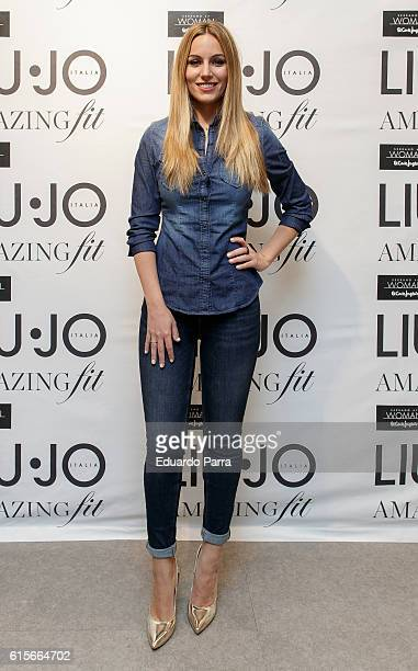Singer Edurne Garcia presents the Bottom Up Amaizing Fit by Liu Jo at El Corte Ingles store on October 19 2016 in Madrid Spain