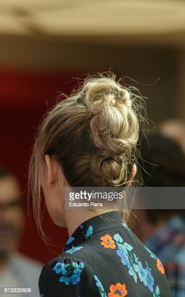 Singer Edurne hair bun detail attends the 'Got Talent' photocall at Coliseum theatre on July 12 2017 in Madrid Spain