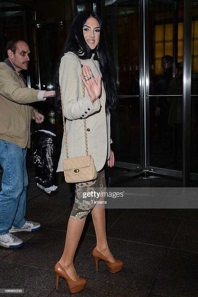 Singer Egine leaves the Sirius XM Studios on April 18, 2013 in New York City.