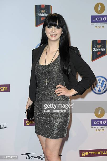 Singer Eisblume arrives for the Echo Awards 2012 at Palais am Funkturm on March 22 2012 in Berlin Germany