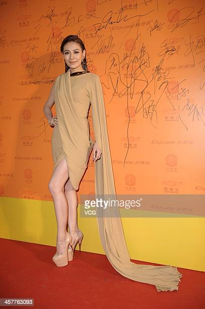 Singer Elanne Kwong attends the 11th Huading Global Music Satisfaction Survey Release Ceremony at Shanghai Expo Centre on December 18 2013 in...