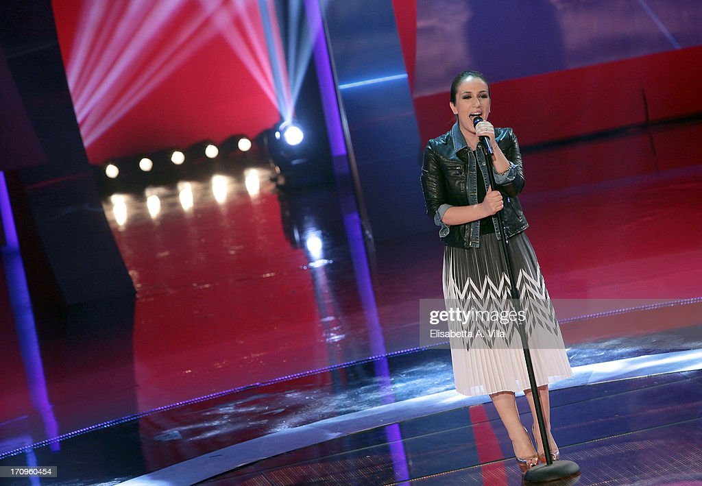 Singer Elhaida Dani performes during the Premio Bellisario 2013 at Dear RAI studios on June 20, 2013 in Rome, Italy.