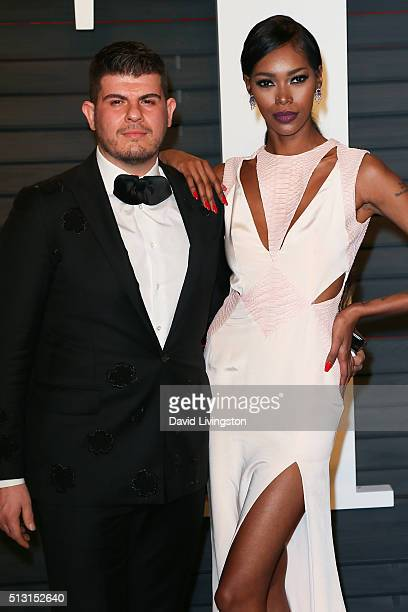 Singer Eli 'Henree' Mizrahi and model Jessica White arrive at the 2016 Vanity Fair Oscar Party Hosted by Graydon Carter at the Wallis Annenberg...