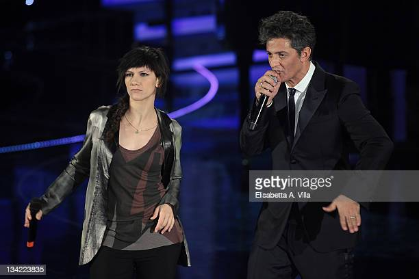 Singer Elisa and Rosario Fiorello attend 'Il Piu Grande Spettacolo Dopo Il Weekend' TV show at Cinecitta on November 28 2011 in Rome Italy