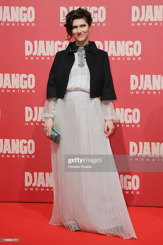Singer Elisa attends the 'Django Unchained' premiere at Cinema Adriano on January 4, 2013 in Rome, Italy.
