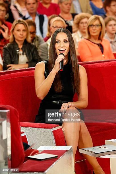 Singer Elisa Tovati presents Bibi's Song 'Tout Doucement' during the 'Vivement Dimanche' show at Pavillon Gabriel on October 8 2014 in Paris France