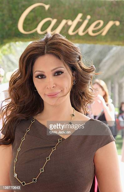 Singer Elissa attends the Cartier International Dubai Polo Challenge at the Desert Palm Hotel on February 24 2012 in Dubai United Arab Emirates The...