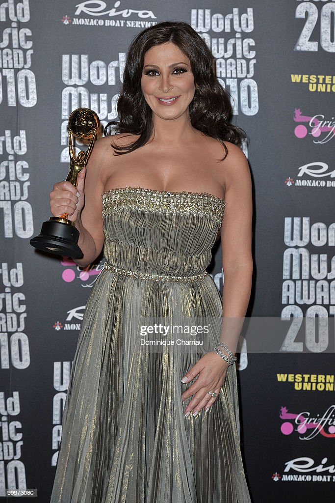 Singer Elissa poses backstage after she received an award during the World Music Awards 2010 at the Sporting Club on May 18, 2010 in Monte Carlo, Monaco.