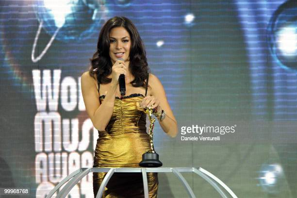 Singer Elissa speaks on stage during the World Music Awards 2010 at the Sporting Club on May 18 2010 in Monte Carlo Monaco