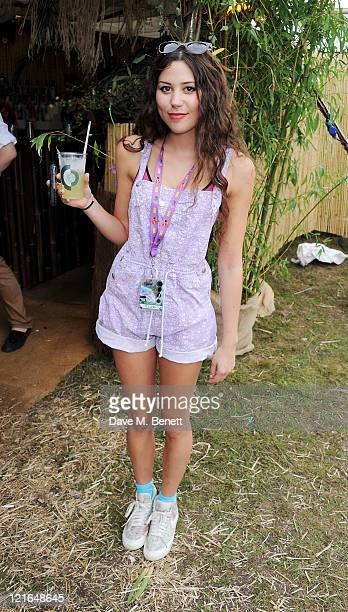 Singer Eliza Doolittle attends the launch of Mahiki Coconut liqueur backstage during Day Two of V Festival 2011 on August 21 2011 in Chelmsford...