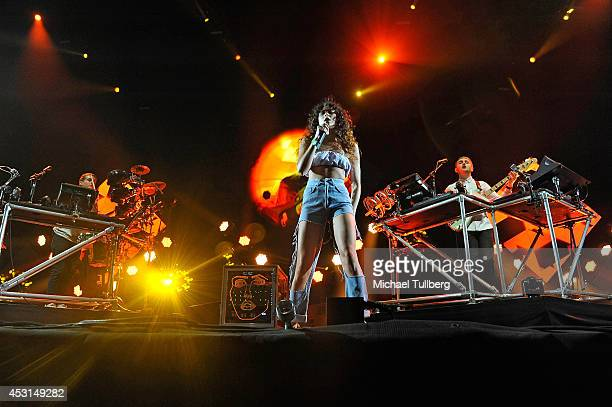Singer Eliza Doolittle joins electronic musicians Guy Lawrence and Howard Lawrence of Disclosure during Day 2 of the HARD Summer 2014 festival at...