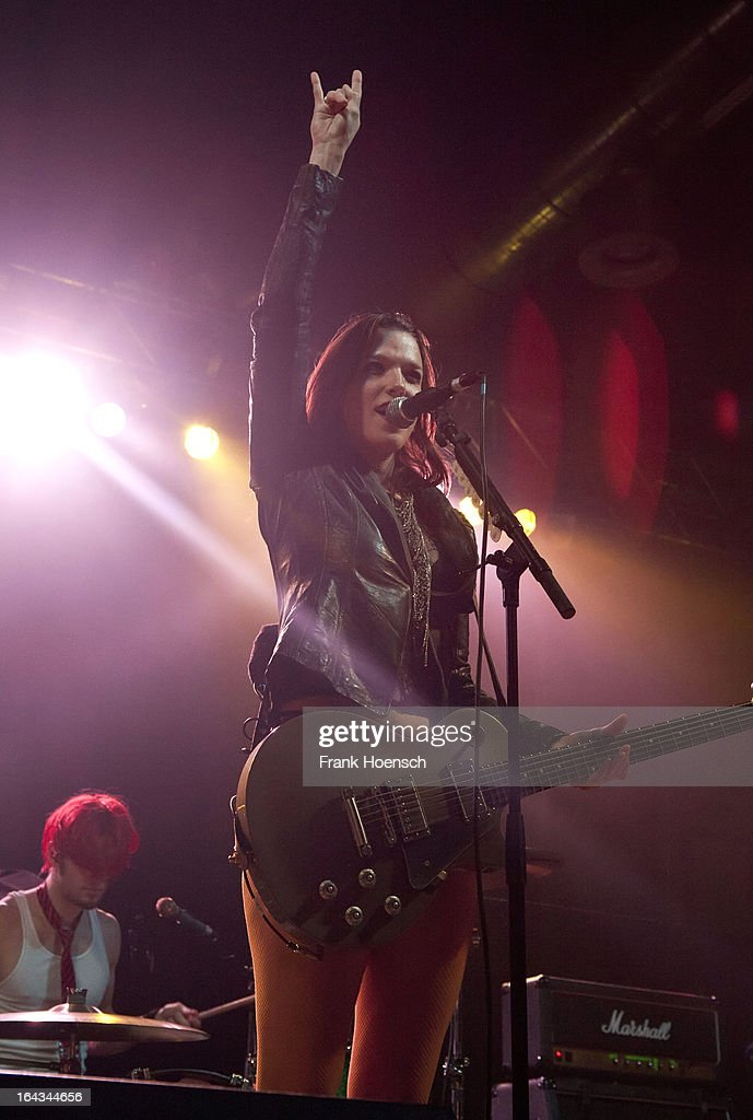 Singer Elizabeth 'Lzzy' Hale of Halestorm performs live in support of Bullet For My Valentine during a concert at the Huxleys on March 22, 2013 in Berlin, Germany.