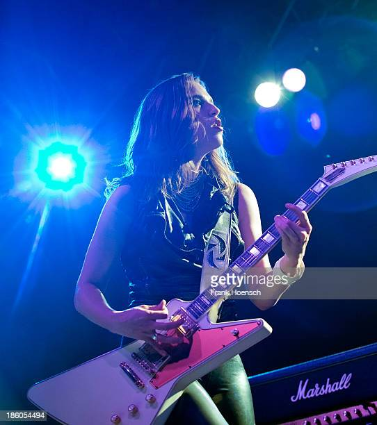 Singer Elizabeth 'Lzzy' Hale of Halestorm performs live in support of Alter Bridge during a concert at the Huxleys on October 27 2013 in Berlin...