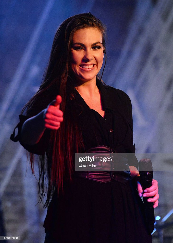 Singer Elize Ryd of Amaranthe performs at the LVCS as the band tours in support of the new album 'The Nexus' on July 28, 2013 in Las Vegas, Nevada.