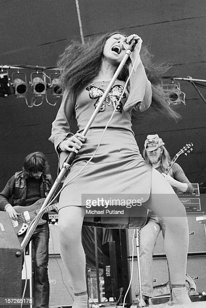 Singer Elkie Brooks performing British rock group Vinegar Joe at the Great Western Express Lincoln Festival Bardney Lincolnshire 29th May 1972 In th...