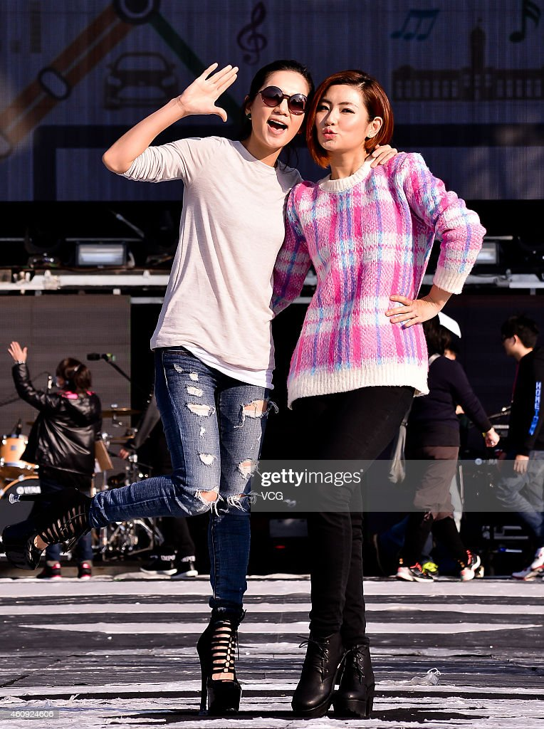 Singer Ella (R) and Selina rehearse Taipei's New Year Party on December 30, 2014 in Taipei, Taiwan of China.