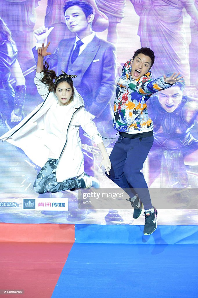 Singer Ella Chen of girl group SHE and actor Jia Nailiang attend the press conference of Zhejiang TV variety show 'Beat the Champions' on March 9...