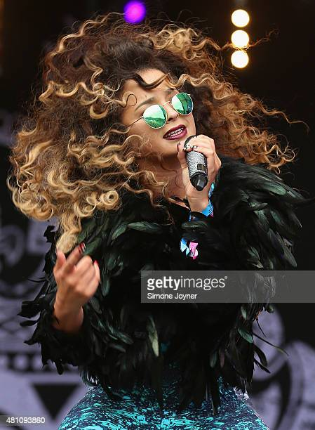 Singer Ella Eyre performs live on the main stage during day one of Lovebox Festival 2015 at Victoria Park on July 17 2015 in London England