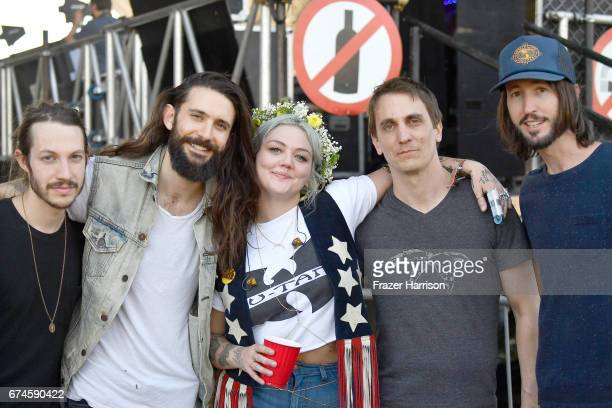 Singer Elle King poses with her band at the Palomino Stage during day 1 of 2017 Stagecoach California's Country Music Festival at the Empire Polo...