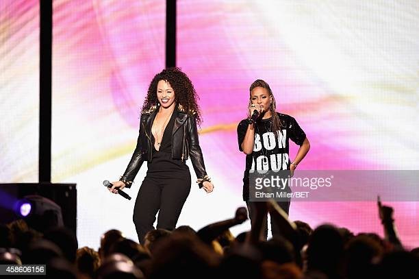 Singer Elle Varner and rapper MC Lyte perform onstage during the 2014 Soul Train Music Awards at the Orleans Arena on November 7 2014 in Las Vegas...