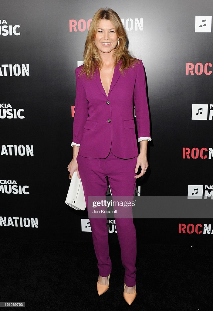 Singer Ellen Pompeo arrives at Roc Nation Hosts Annual Private Pre-GRAMMY Brunch at Soho House on February 9, 2013 in West Hollywood, California.