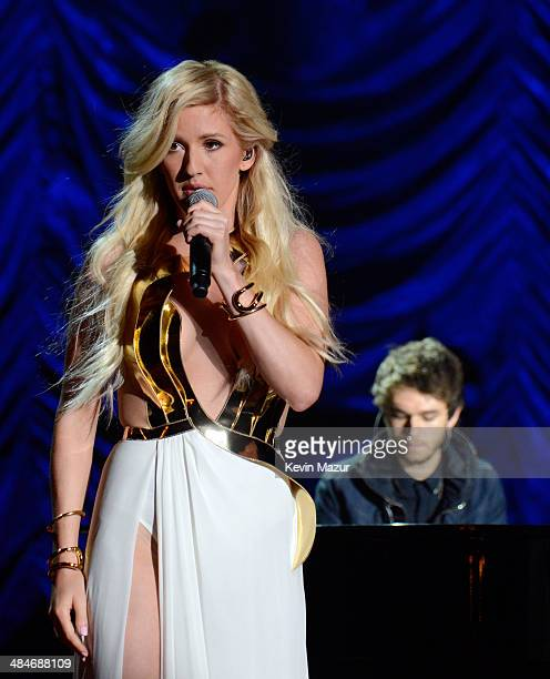 Singer Ellie Goulding and musician Zedd perform onstage at the 2014 MTV Movie Awards at Nokia Theatre LA Live on April 13 2014 in Los Angeles...