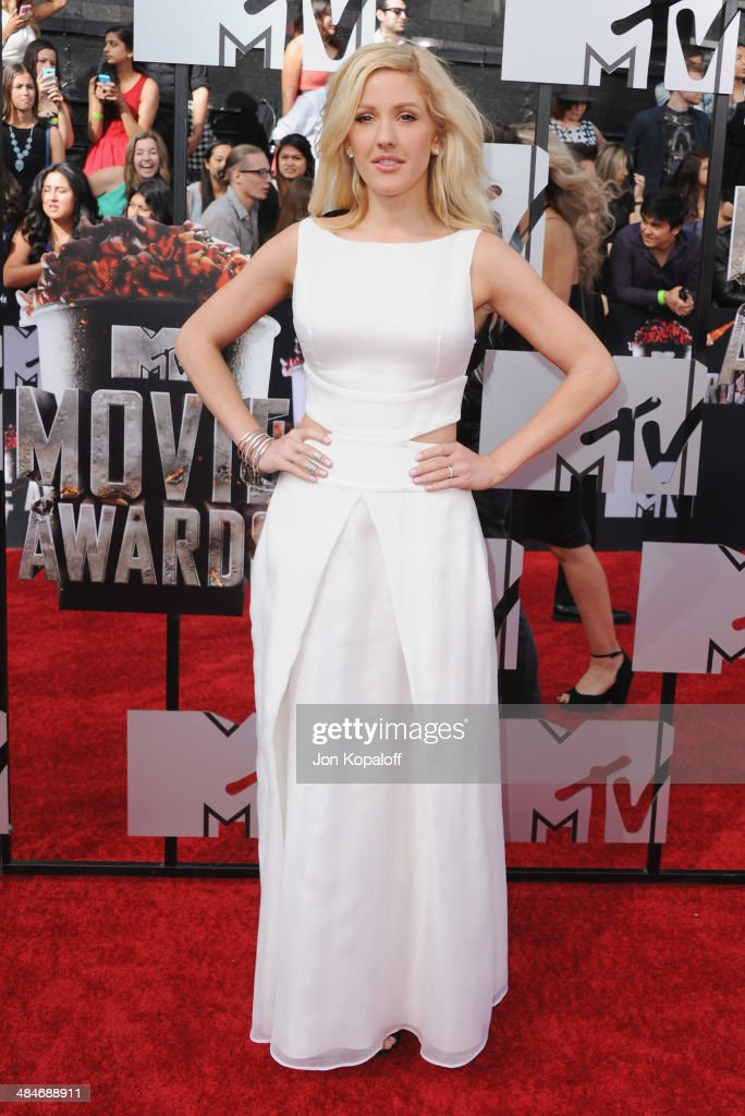 Singer <a gi-track='captionPersonalityLinkClicked' href=/galleries/search?phrase=Ellie+Goulding&family=editorial&specificpeople=6389309 ng-click='$event.stopPropagation()'>Ellie Goulding</a> arrives at the 2014 MTV Movie Awards at Nokia Theatre L.A. Live on April 13, 2014 in Los Angeles, California.