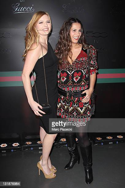 Singer Elodie Frege and actress Elisa Tovati attends the 'Fiat 500 By Gucci' Launch at Motor Village on May 4 2011 in Paris France