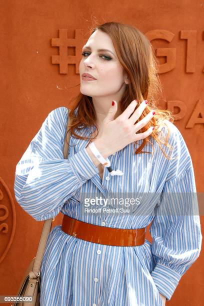 Singer Elodie Frege attends the 2017 French Tennis Open Day Eleven at Roland Garros on June 7 2017 in Paris France