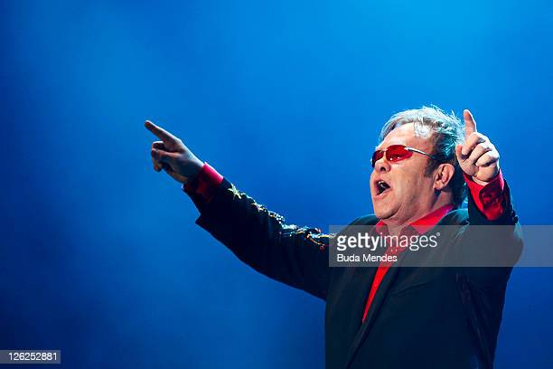 Singer Elton Jonh performs on stage during a concert in the Rock in Rio Festival on September 23 2011 in Rio de Janeiro Brazil Rock in Rio Festival...