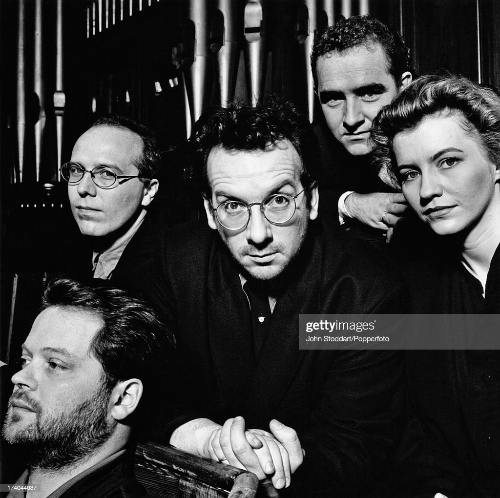 Singer Elvis Costello and the Brodsky Quartet, circa 1993. They collaborated on the studio album 'The Juliet Letters' in 1993. The quartet are violinists Ian Belton and Michael Thomas, viola player Paul Cassidy and cellist Jaqueline Thomas.
