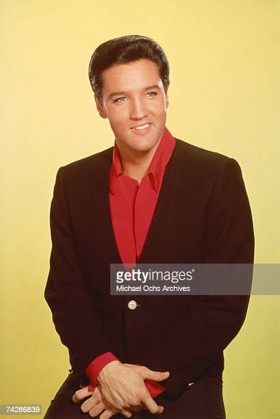 Singer Elvis Presley poses for a portrait for the release of his film 'Viva Las Vegas' in July 1963 at MGM Studios in Culver City California