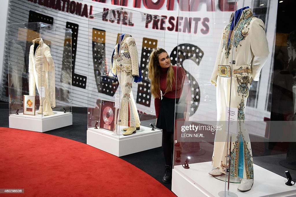 US singer Elvis Presley's Embroidered King of Spades jumpsuit is displayed during a photocall for the 'Elvis at the O2' exhibition in London on...