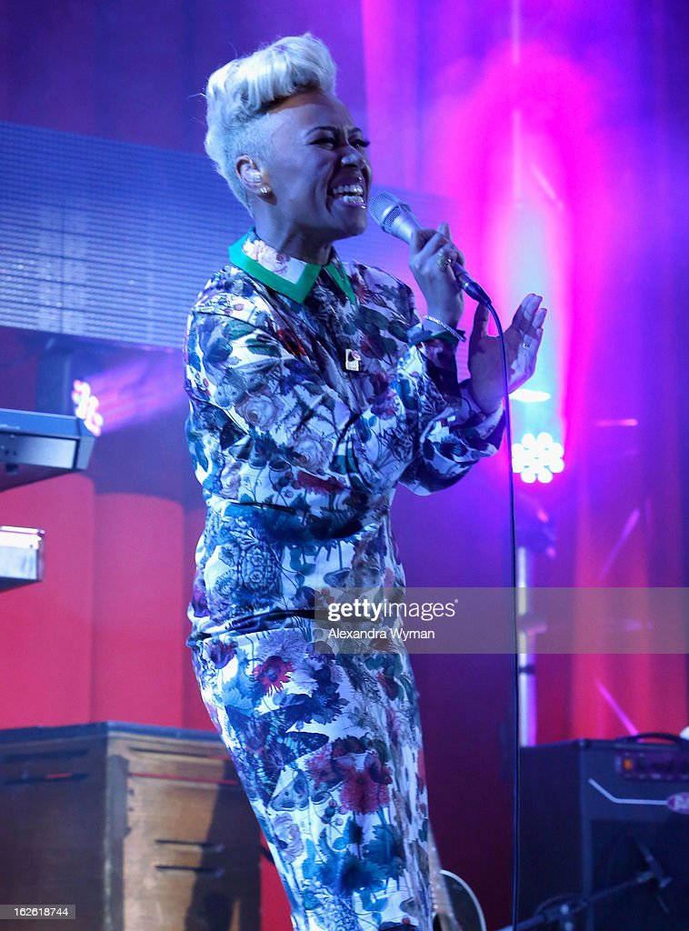 Singer Emeli Sandé performs onstage at the 21st Annual Elton John AIDS Foundation Academy Awards Viewing Party at West Hollywood Park on February 24, 2013 in West Hollywood, California.