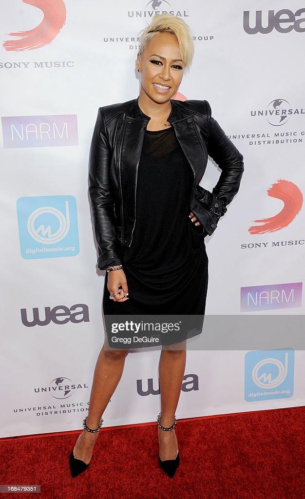 Singer Emeli Sande arrives at the NARM Music Biz Awards dinner party at the Hyatt Regency Century Plaza on May 9 2013 in Century City California