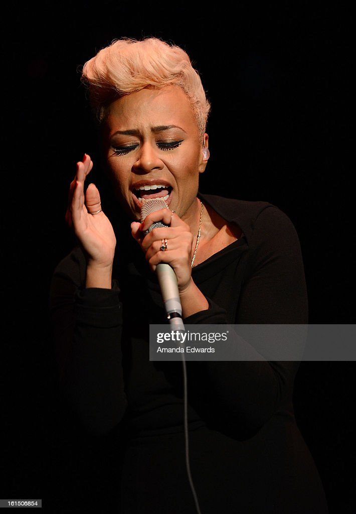 Singer Emeli Sande performs onstage at the Myspace LIVE Show Presented By Chapstick Sessions at the Key Club on February 11, 2013 in West Hollywood, California.