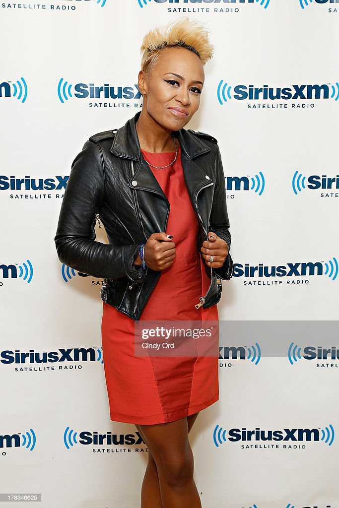 Singer <a gi-track='captionPersonalityLinkClicked' href=/galleries/search?phrase=Emeli+Sande&family=editorial&specificpeople=7220317 ng-click='$event.stopPropagation()'>Emeli Sande</a> visits the SiriusXM Studios on August 29, 2013 in New York City.