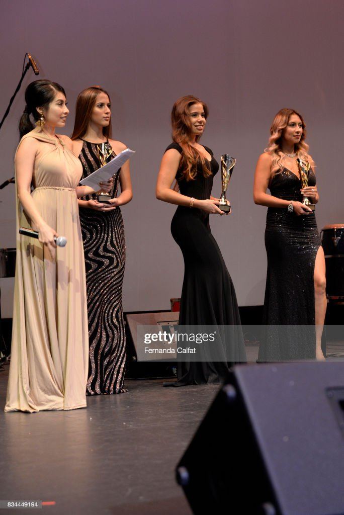 Singer Emilia Pedersen (2nd L) attends Premios Gruperos 2017 at Queens Theatre on August 17, 2017 in the Queens borough of New York City.